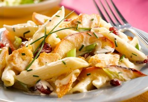 Penne with Sautéed Chicken, Apples and Cranberries