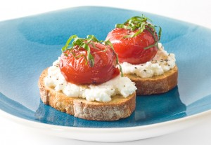 Crostini with Roasted Strawberry Tomatoes and Ricotta