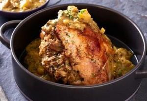 Stuffed Turkey Breast with Apple Curry Gravy