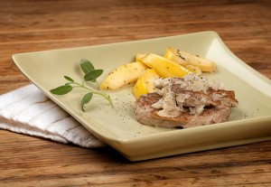 Apples and Pork Medallions In Sage Pan Cream Sauce