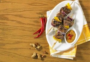 Beef Steak Kabobs with Peanut Dipping Sauce