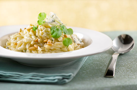 Orzo Risotto with Creamy Pinenut and Garlic Chive Sauce