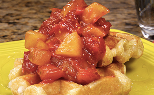 Waffles with Sweet Tomato Apple Sauce