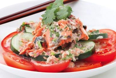 Sockeye Salmon and Campari Tomato Salad