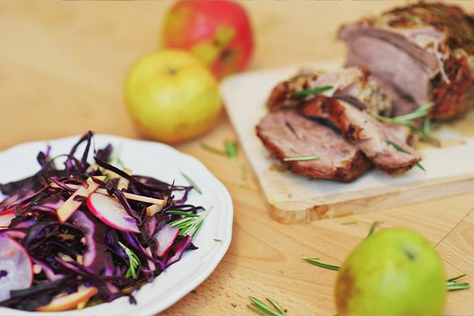 Grilled Pork Chops and Apple Slaw