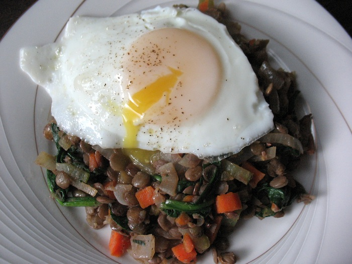 Warm Lentil & Bacon Salad with Fried Eggs