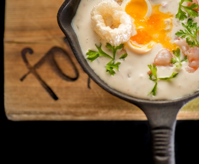 Creamy BC Spot Prawn Chowder with Poached Egg and Smokey Chicharon