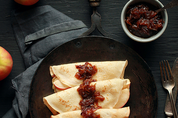 Crisp Apple and Cambozola Crepes with Onion Jam