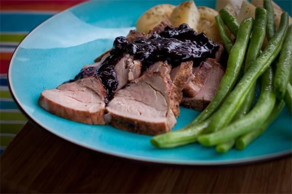 Pork Tenderloin with Blueberry Bacon BBQ Sauce