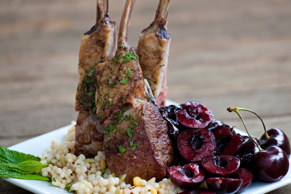 BBQ Rack of Lamb with Sweet Cherries and Fresh Mint