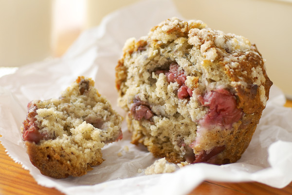 Cherry Muffins with Crunchy Tops