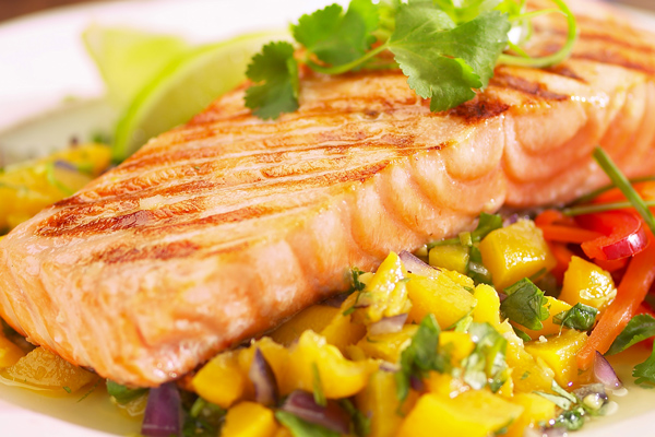 Marinated Grilled Salmon with Ginger Peach Salsa