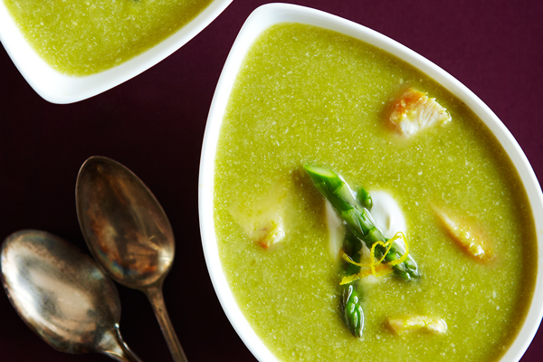 Chicken Asparagus Soup with Asiago Cheese