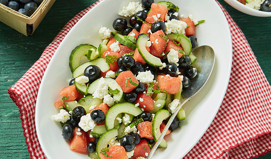 Blueberry, Watermelon, Cucumber and Feta Salad