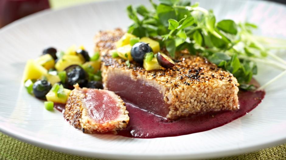 Sesame Crusted Tuna with a Blueberry Ponzu Vinaigrette