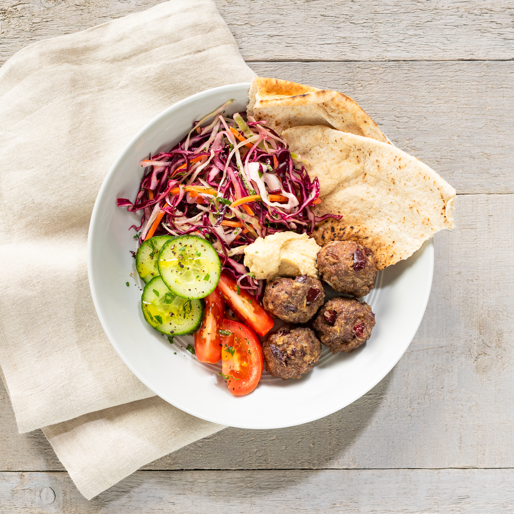 Middle Eastern kidney bean meatballs with herbed slaw