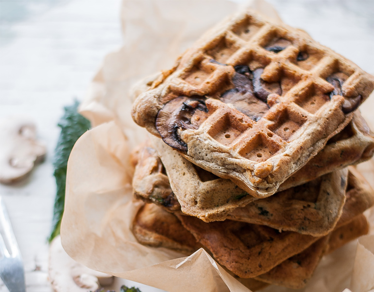 Rye Waffles with Mushrooms and Kale