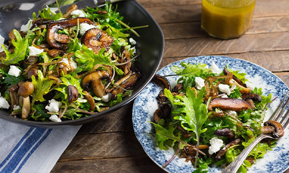Kale and Caramelized Wild Mushrooms with goat cheese, sherry and honey