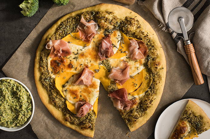 Butternut Squash and Sage Pizza with Broccoli Pesto