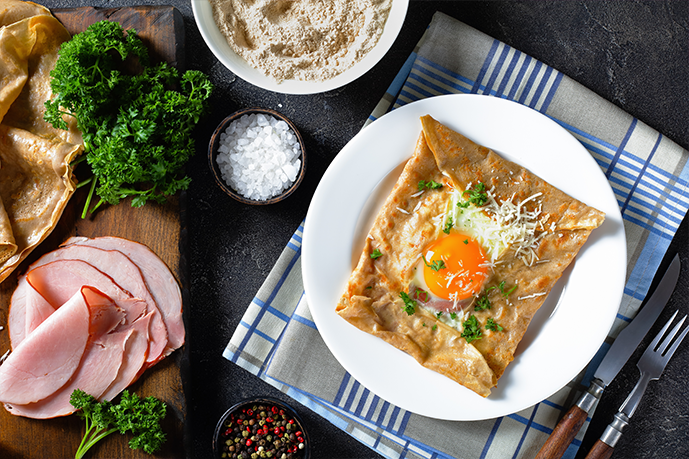 Ham and Egg Crêpes with Hollandaise