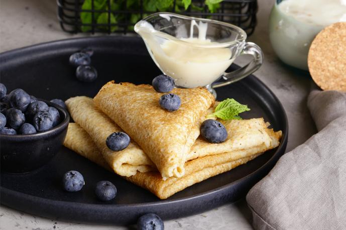 Blueberry Crepes with Blueberry Honey Yogurt