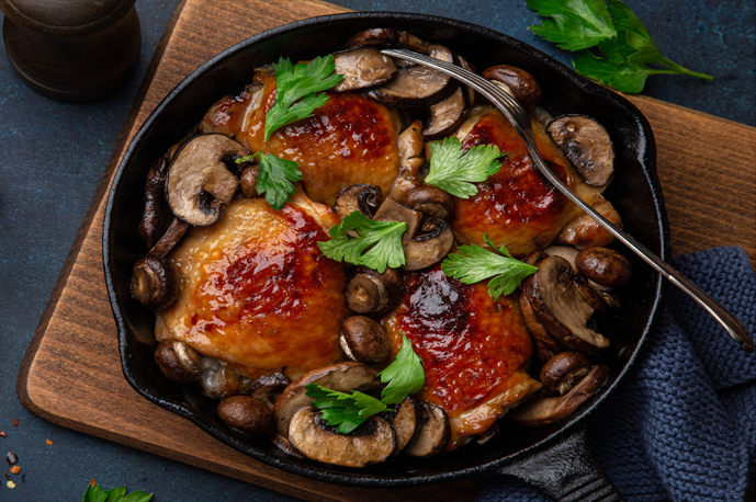 Chicken & Mushroom Roasted Garlic Sauté