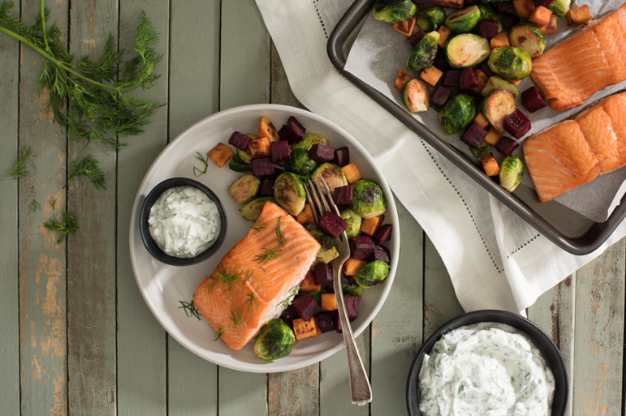 Roasted Trout with Beets and Dill