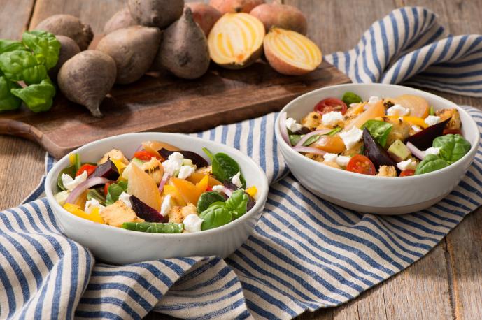Roasted Two-Beet Panzanella Salad